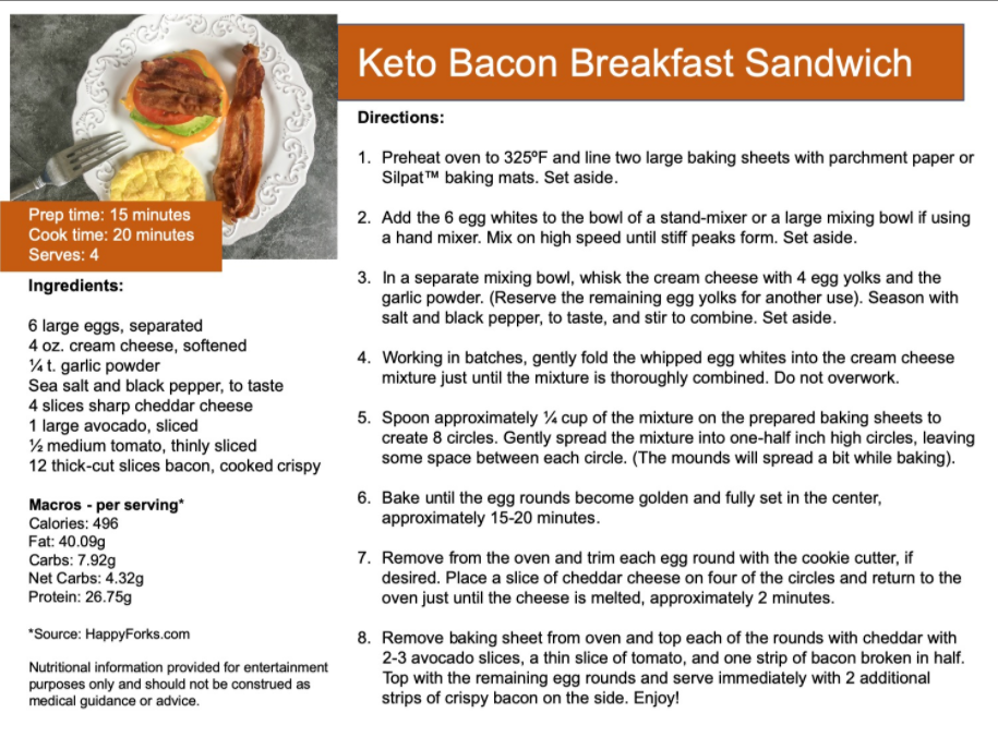 Keto bacon breakfast sandwich recipe