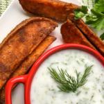 Spicy Sweet Potato Wedgeswith HerbedCoconutYogurtDip