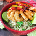 Shrimp Fajita Bowls with Cilantro-Lime Rice
