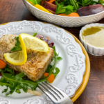 Pan-Seared Swordfish with Rainbow Ribbon Salad